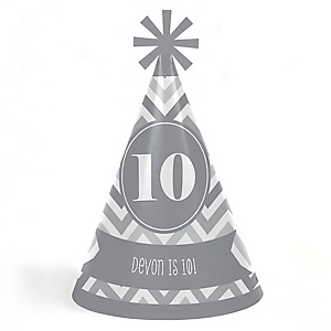 Chevron Gray - Personalized Cone Happy Birthday Party Hats for Kids and Adults - Set of 8 (Standard Size)