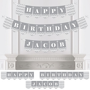 Chevron Gray - Personalized Birthday Party Bunting Banner & Decorations
