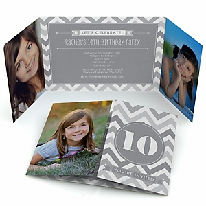 Chevron Gray - Personalized Birthday Party Photo Invitations - Set of 12