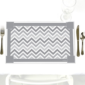 Chevron Gray - Party Table Decorations - Party Placemats - Set of 12
