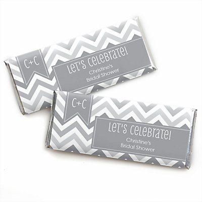 chevron gray personalized candy bar wrappers bridal shower favors set of 24 bigdotofhappinesscom