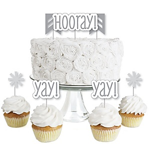 Chevron Gray - Dessert Cupcake Toppers - Baby Shower or Birthday Party Clear Treat Picks - Set of 24