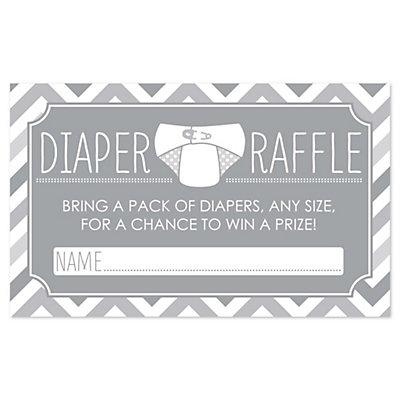 Chevron Gray Diaper Raffle Baby Shower Game 18 Ct