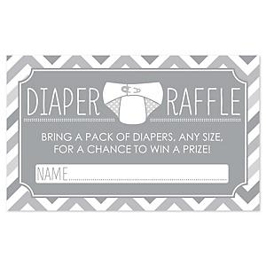 Chevron Gray - Diaper Raffle Baby Shower Game - 18 ct