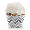 Chevron Gray - Everyday Party Cupcake Wrappers & Decorations