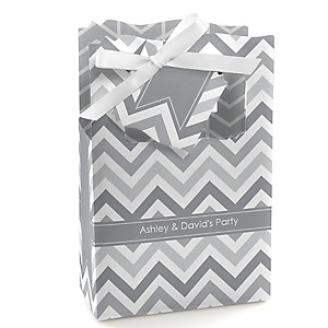 Chevron Gray - Personalized Party Favor Boxes - Set of 12
