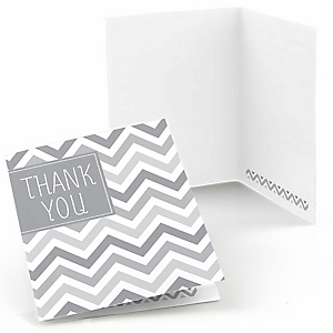 Chevron Gray - Party Thank You Cards - 8 ct