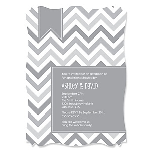 Chevron Gray - Personalized Party Invitations - Set of 12