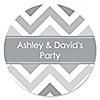 Chevron Gray - Personalized Everyday Party Sticker Labels - 24 ct