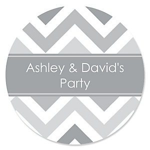 Chevron Gray - Personalized Party Sticker Labels - 24 ct