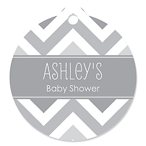 Chevron Gray - Round Personalized Party Tags - 20 ct