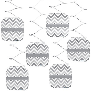 Chevron Gray - Party Hanging Decorations - 6 ct