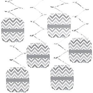 Chevron Gray - Baby Shower Hanging Decorations - 6 ct