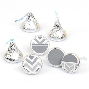 Chevron Gray - Round Candy Labels Party Favors - Fits Hershey's Kisses - 108 ct