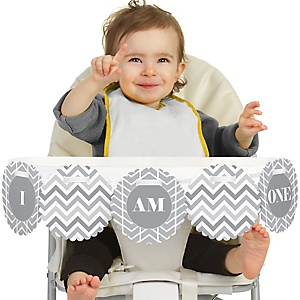 Chevron Gray 1st Birthday - I am One - First Birthday High Chair Banner