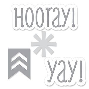 Chevron Gray - Shaped Party Paper Cut-Outs - 24 ct