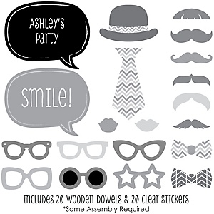 Chevron Gray - 20 Piece Photo Booth Props Kit