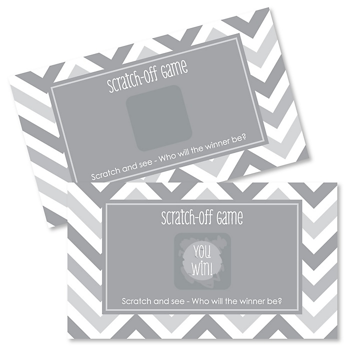 Chevron Gray - Party Game Scratch Off Cards - 22 ct