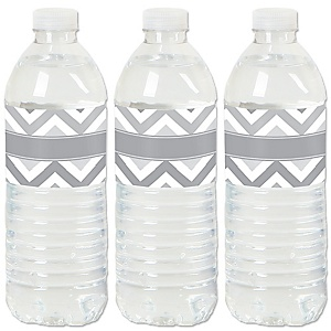 Chevron Gray - Baby, Bridal Shower or Birthday Party Water Bottle Sticker Labels - Set of 20
