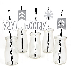 Chevron Gray - Paper Straw Decor - Baby Shower or Birthday Party Striped Decorative Straws - Set of 24