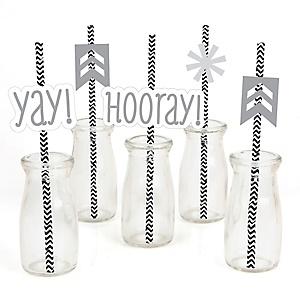 Chevron Gray - Paper Straw Decor - Baby Shower or Birthday Party Striped Decorative Straws - Set of 24