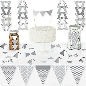 Chevron Gray - DIY Pennant Banner Decorations - Baby, Bridal Shower or Birthday Party Triangle Kit - 99 Pieces