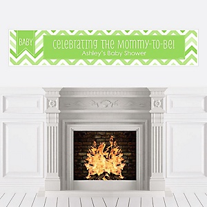 Chevron Green - Personalized Baby Shower Banners