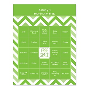 Green Chevron - Bingo Personalized Baby Shower Games - 16 Count