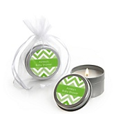 Green Chevron - Candle Tin Personalized Baby Shower Favors