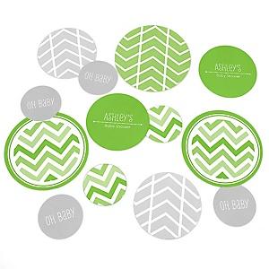 Chevron Green - Personalized Baby Shower Table Confetti - 27 ct