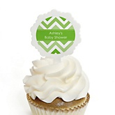 Chevron Green - 12 Cupcake Picks & 24 Personalized Stickers - Baby Shower Cupcake Toppers