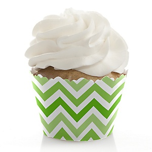 Chevron Green - Baby Shower Cupcake Wrappers & Decorations