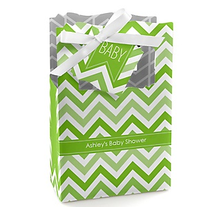 Chevron Green - Personalized Baby Shower Favor Boxes