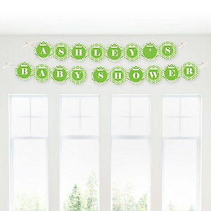 Chevron Green - Personalized Baby Shower Garland Letter Banners