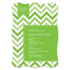 Chevron Green - Personalized Baby Shower Invitations