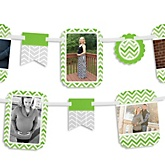 Chevron Green - Baby Shower Photo Garland Banners