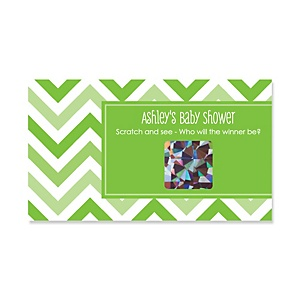 Chevron Green - Personalized Baby Shower Game Scratch Off Cards - 22 ct