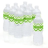 Chevron Green - Personalized Party Water Bottle Sticker Labels - Set of 10