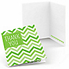 Chevron Green - Everyday Party Thank You Cards - 8 ct
