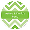 Chevron Green - Personalized Everyday Party Sticker Labels - 24 ct