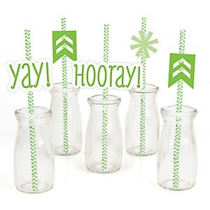 Chevron Green - Paper Straw Decor - Baby Shower or Birthday Party Striped Decorative Straws - Set of 24