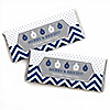 Merry & Bright - Chevron Navy and Gray - Personalized Christmas Dinner Party Candy Bar Wrapper Favors