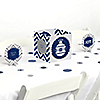 Merry & Bright - Chevron Navy and Gray - Christmas Dinner Party Centerpiece & Table Decoration Kit