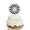 Merry & Bright - Chevron Navy and Gray - Christmas Dinner Party Cupcake Pick and Sticker Kit - 12 ct