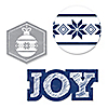 Merry & Bright - Chevron Navy and Gray - Shaped Christmas Dinner Party Paper Cut-Outs - 24 ct