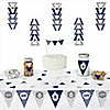Merry & Bright - Chevron Navy and Gray - 72 Piece Triangle Christmas Dinner Party Decoration Kit