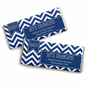 Chevron Navy - Personalized Baby Shower Candy Bar Wrapper Favors