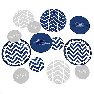 Chevron Navy - Personalized Baby Shower Table Confetti - 27 ct