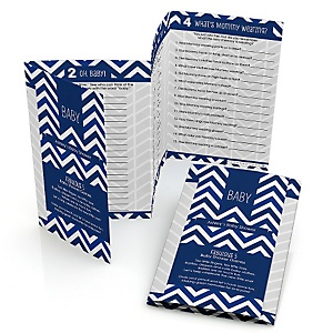 Chevron Navy - Personalized Baby Shower Fabulous 5 Games