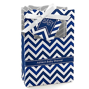Chevron Navy - Personalized Baby Shower Favor Boxes
